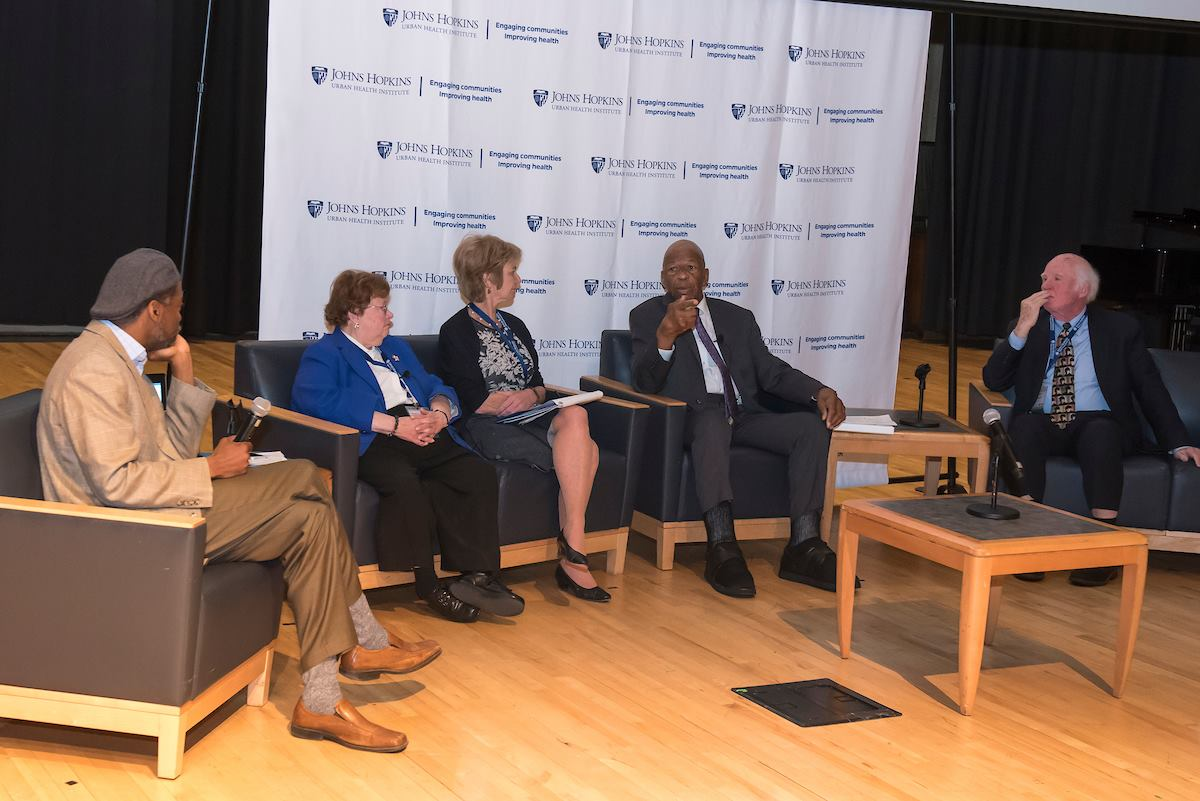 "(L to R) Lester Spence, Senator Barbara Mikulski, Kathleen Townsend Kennedy, Congressman Elijah Cummings, and Taylor Branch on the ""Reflecting on 1968 within the Context of 2018"" panel discussion."