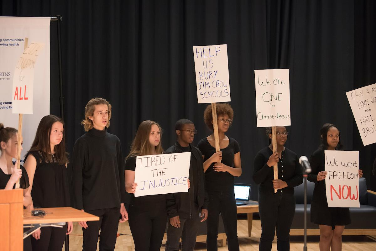 Baltimore School for the Arts Students singing songs of the civil rights movement