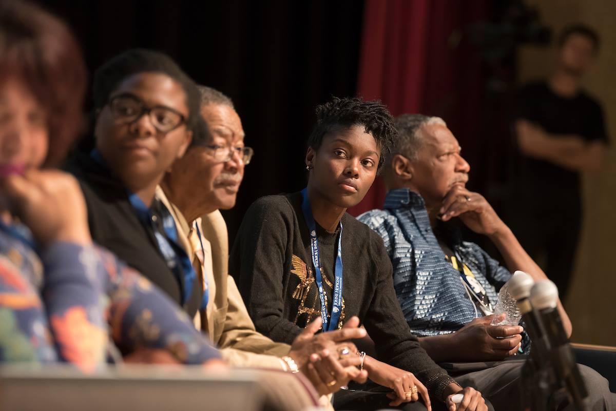 "(L to R) Destiny Watford, Bishop Douglas Miles, Durre Smith, and Eddie Conway on the ""Baltimore Political and Social Activism: 1968 and 2018"" panel discussion."